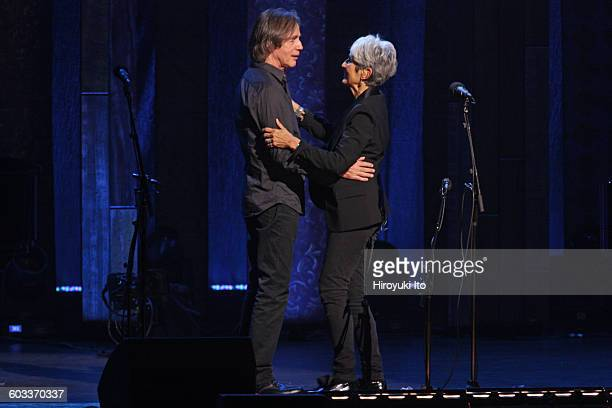 """75th Birthday Celebration"""" at Beacon Theater on Wednesday night, January 27, 2016.This image:Joan Baez, right, with Jackson Browne."""
