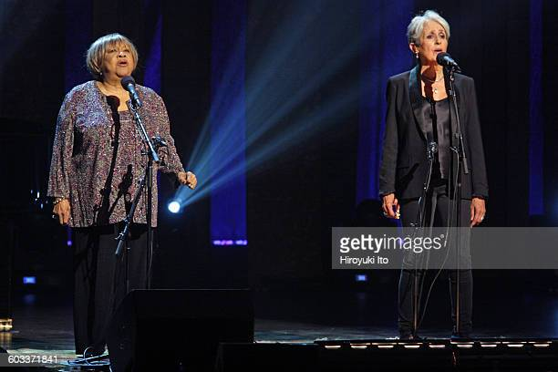 """75th Birthday Celebration"""" at Beacon Theater on Wednesday night, January 27, 2016.This image:Joan Baez, right, with Mavis Staples, performing """"Oh..."""