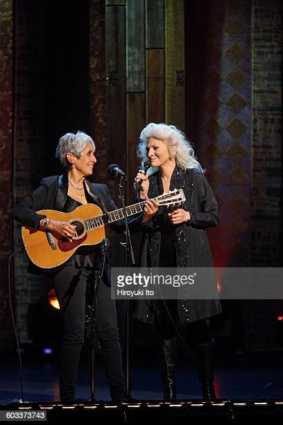 """75th Birthday Celebration"""" at Beacon Theater on Wednesday night, January 27, 2016.This image:Joan Baez, left, and Judy Collins performing """"Diamond..."""