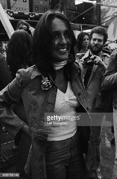 Joan Baez participates in a celebration for the end of the Vietnam War in New York's Central Park