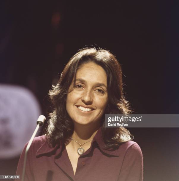 Joan Baez US folk singer smiling during a performance on a television show circa 1974