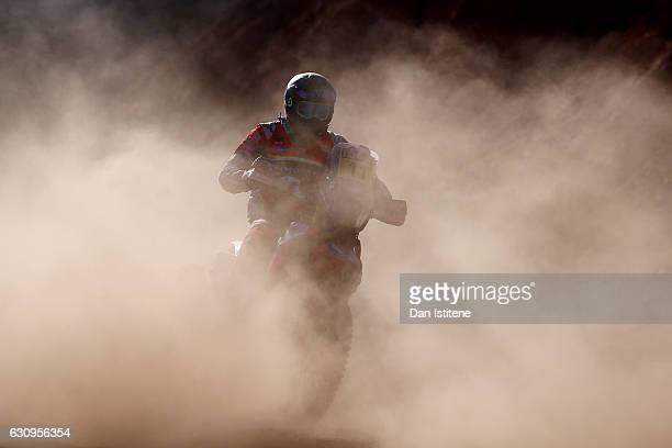 Joan Barreda Bort of Spain and HRC Honda rides a CRF450Rally Honda bike in the Elite ASO during stage three of the 2017 Dakar Rally between San...