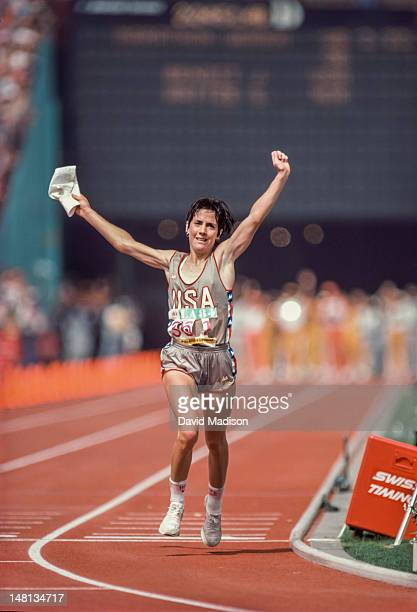 Joan Benoit of the USA wins the first Women's Marathon of the Olympic Games on August 5, 1984 in Los Angeles, California.