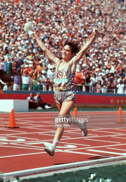Joan Benoit wins the first women''s Olympic marathon during the 1984 Olympics at the Los Angeles Memorial Coliseum in Los Angeles California...