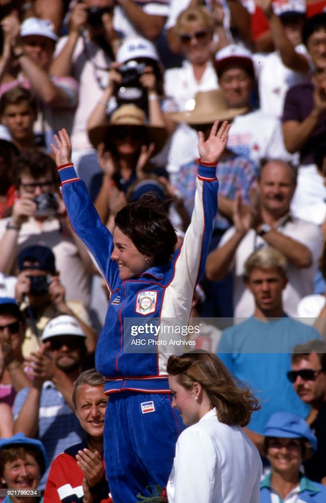 Women's Track Marathon Medal Ceremony At The 1984 Summer Olympics : News Photo