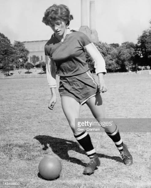 Joan Briggs centreforward of the England women's football team training at Battersea Park London 29th July 1959