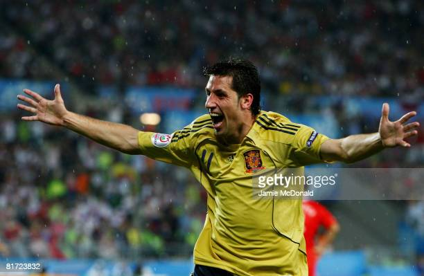 Joan Capdevila of Spain celebrates the goal scored by Xavi Hernandez of Spain during the UEFA EURO 2008 Semi Final match between Russia and Spain at...