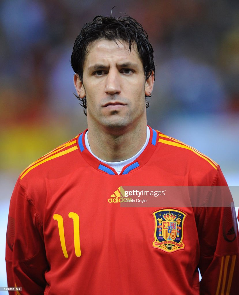 Joan Capdevila of Spain lines-up before the International friendly match between Argentina and Spain at the Vicente Calderon stadium on November 14, 2009 in Madrid, Spain.