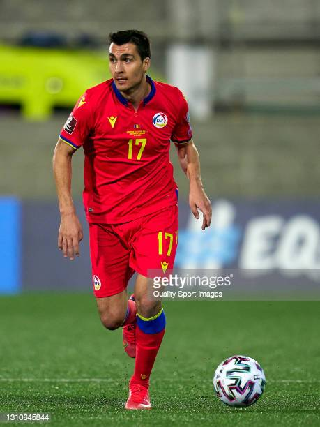 Joan Cervos of Andorra con trols the ball during the FIFA World Cup 2022 Qatar qualifying Group I match between Andorra and Hungary on March 31, at...