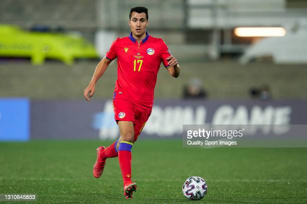 Joan Cervos of Andorra controls the ball during the FIFA World Cup 2022 Qatar qualifying Group I match between Andorra and Hungary on March 31, at...