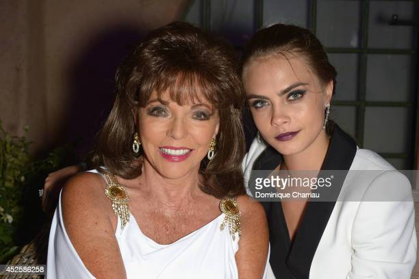 Joan Collins and Cara Delevingne attend the Leonardo Dicaprio Gala at Domaine Bertaud Belieu on July 23 2014 in SaintTropez France
