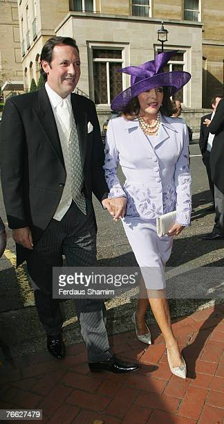Joan Collins and guest attend the wedding of Chloe Delevingne and Louis Buckworth on September 7 2007 in London England