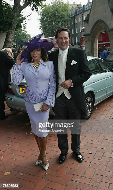 Joan Collins and Guest attends the wedding of Chloe Delevingne and Louis Buckworth on September 7 2007 in London England
