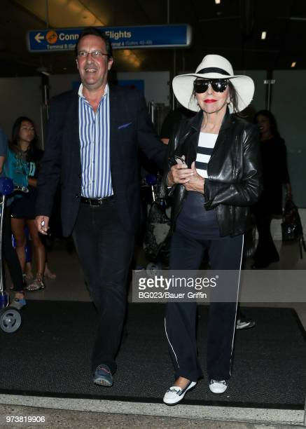Joan Collins and her husband Percy Gibson are seen on June 13 2018 in Los Angeles California