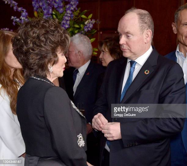 Joan Collins and HSH Prince Albert II attend the 60th Anniversary party for the MonteCarlo TV Festival at Sunset Tower Hotel on February 05 2020 in...