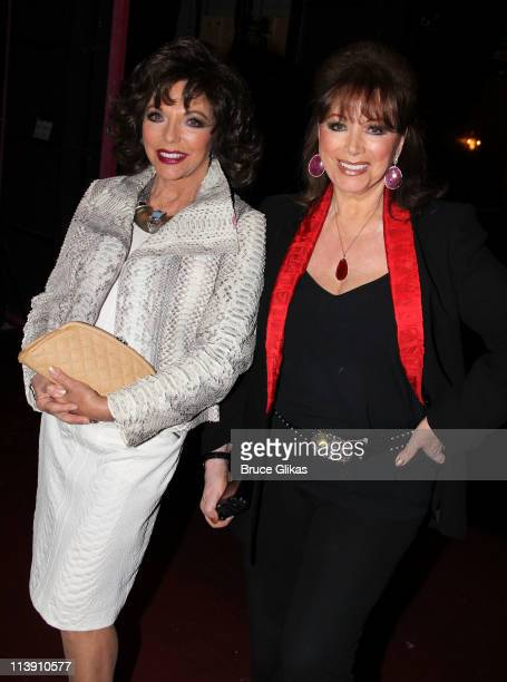 Joan Collins and Jackie Collins pose backstage at the hit musical Priscilla Queen of The Desert on Broadway at The Palace Theater on May 9 2011 in...