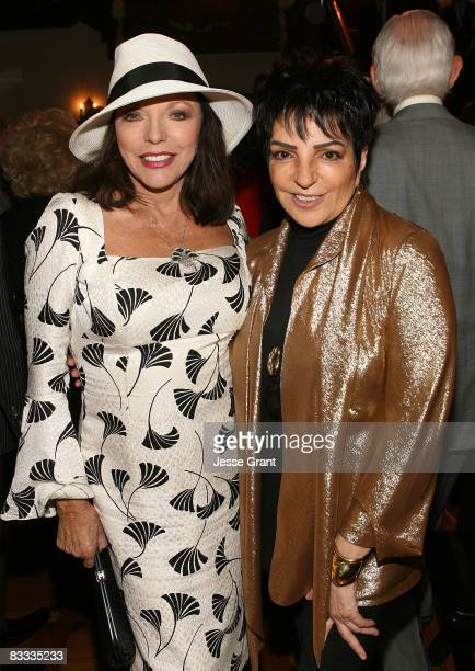Joan Collins and Liza Minnelli attend the wedding of Michael Feinstein and Terrence Flannery held at a private residence on October 17 2008 in Los...