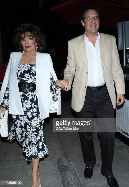 Joan Collins and Percy Gibson are seen on February 28 2020 in Los Angeles California
