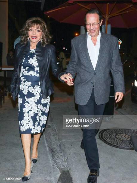 Joan Collins and Percy Gibson are seen on March 04 2020 in Los Angeles California