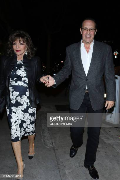 Joan Collins and Percy Gibson are seen on March 5 2020 in Los Angeles California