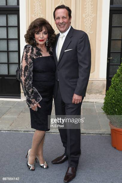 Joan Collins and Percy Gibson attend the cocktail party of the 57th Monte Carlo TV Festival at the Monaco Palace on June 18 2017 in MonteCarlo Monaco