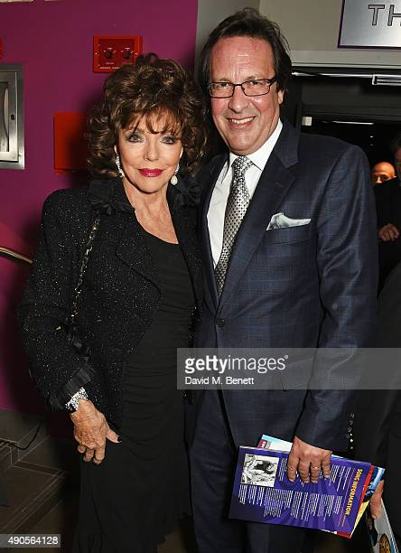 Joan Collins and Percy Gibson attend the press night of Pure Imagination The Songs of Leslie Bricusse at the St James Theatre on September 29 2015 in...