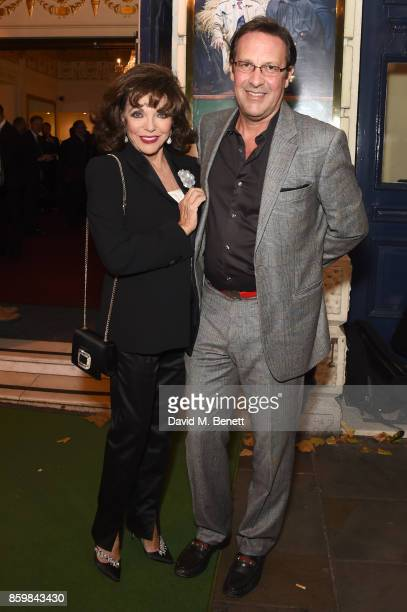 Joan Collins and Percy Gibson attend the press night performance of Mel Brooks' Young Frankenstein at The Garrick Theatre on October 10 2017 in...