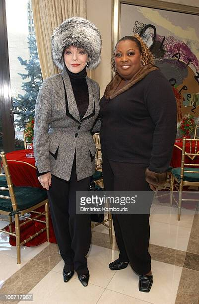 Joan Collins and Star Jones during Denise Rich Honors Patti LaBelle and Damascene Pierre Paul As They Introduce Acts From Pattonium Management and...
