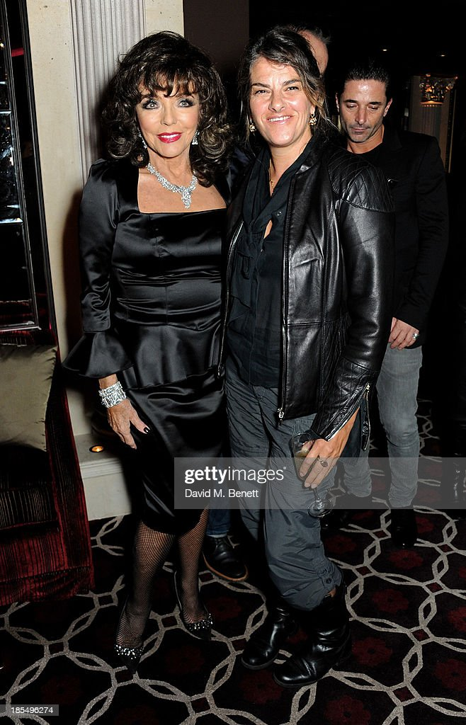 Joan Collins (L) and Tracey Emin attend the launch of Joan Collins new book 'Passion For Life' at No.41 Mayfair Club at The Westbury Hotel on October 21, 2013 in London, England.