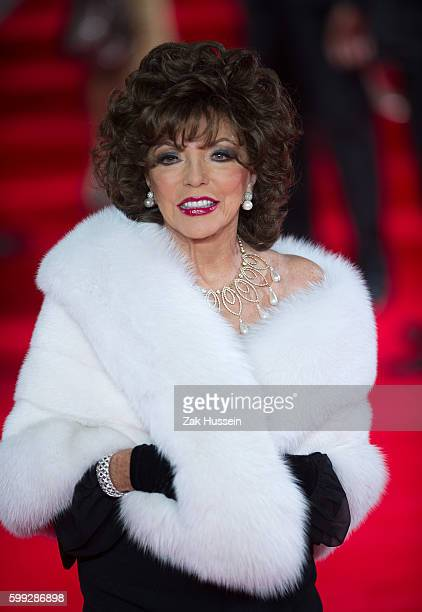 Joan Collins arriving at the world premiere of James Bond film Spectre at the Royal Albert Hall in London