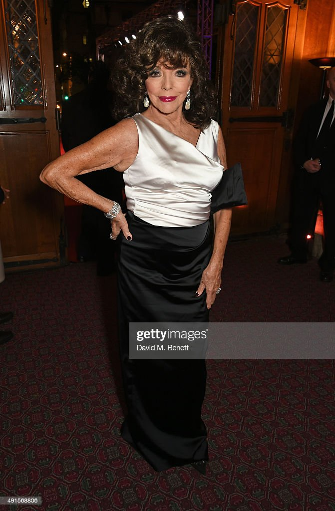 Joan Collins attends a cocktail reception at the BFI Luminous Fundraising Gala in partnership with IWC and crystals by Swarovski at The Guildhall on October 6, 2015 in London, England.