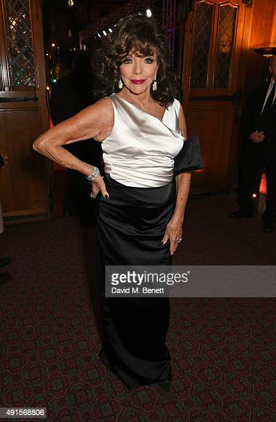 Joan Collins attends a cocktail reception at the BFI Luminous Fundraising Gala in partnership with IWC and crystals by Swarovski at The Guildhall on...