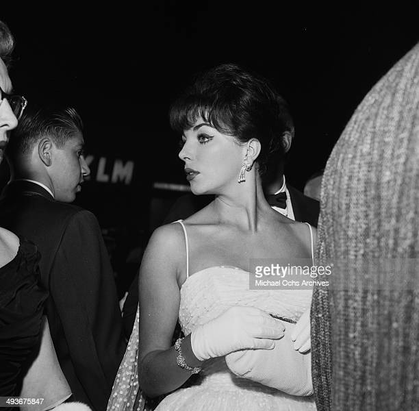 Joan Collins attends a premiere in Los Angeles California