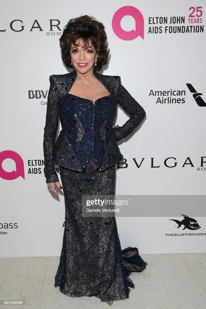 Joan Collins attends Elton John AIDS Foundation 26th Annual Academy Awards Viewing Party at The City of West Hollywood Park on March 4, 2018 in Los Angeles, California.
