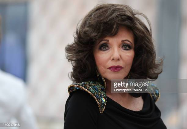 Joan Collins attends the 2012 Vanity Fair Oscar Party Hosted By Graydon Carter at Sunset Tower on February 26 2012 in West Hollywood California