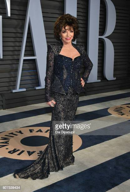 Joan Collins attends the 2018 Vanity Fair Oscar Party hosted by Radhika Jones at Wallis Annenberg Center for the Performing Arts on March 4 2018 in...