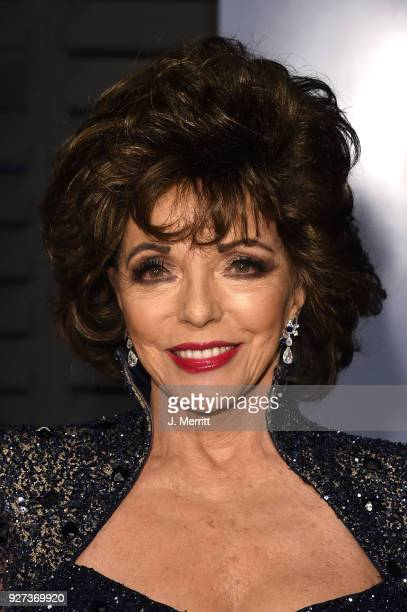 Joan Collins attends the 2018 Vanity Fair Oscar Party hosted by Radhika Jones at the Wallis Annenberg Center for the Performing Arts on March 4 2018...