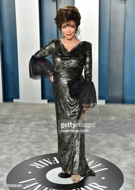 Joan Collins attends the 2020 Vanity Fair Oscar Party hosted by Radhika Jones at Wallis Annenberg Center for the Performing Arts on February 09 2020...
