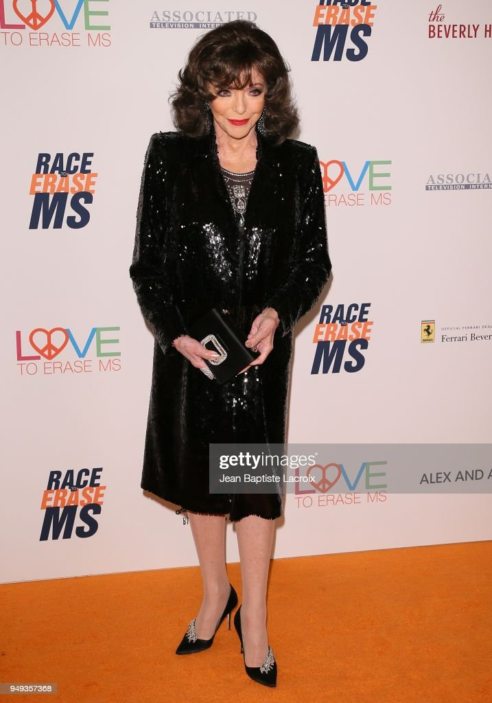 Joan Collins attends the 25th Annual Race To Erase MS Gala at The Beverly Hilton Hotel on April 20, 2018 in Beverly Hills, California.