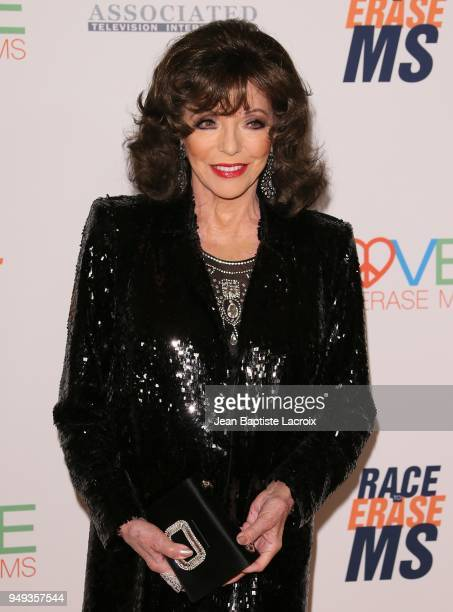 Joan Collins attends the 25th Annual Race To Erase MS Gala at The Beverly Hilton Hotel on April 20 2018 in Beverly Hills California