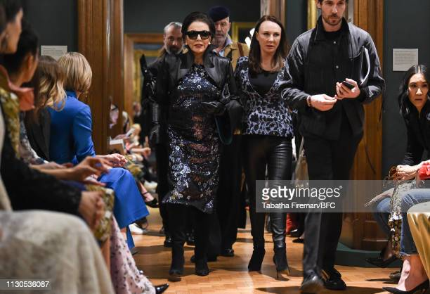 Joan Collins attends the Erdem show during London Fashion Week February 2019 at the National Portrait Gallery on February 18 2019 in London England
