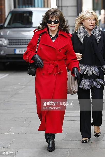 Joan Collins attends the funeral of Christopher Cazenove at St Paul's Church Actor's Church Covent Garden on April 16 2010 in London England