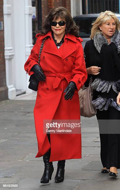 Joan Collins attends the funeral of Christopher Cazenove held at St Paul's Church in Covent Garden on April 16 2010 in London England