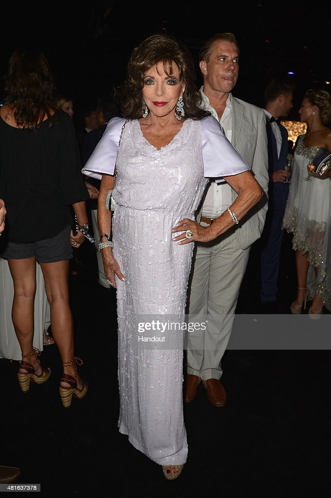 Joan Collins attends The Leonardo DiCaprio Foundation 2nd Annual Saint-Tropez Gala at Domaine Bertaud Belieu on July 22, 2015 in Saint-Tropez, France.