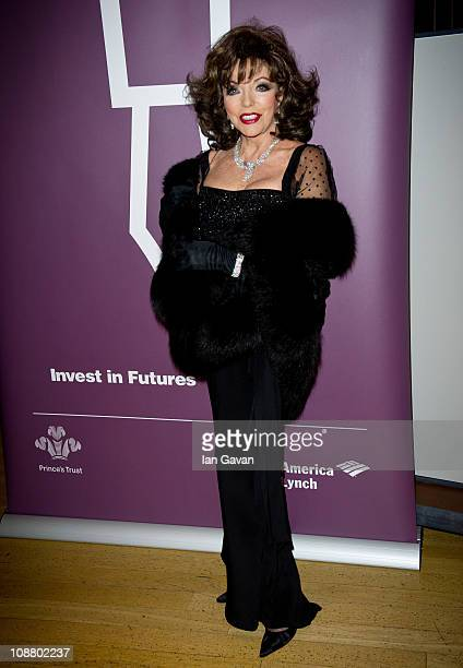 Joan Collins attends The Princes Trust Invest In Futures Gala Dinner supported by Bank of America Merrill Lynch at the Natural History Museum on...
