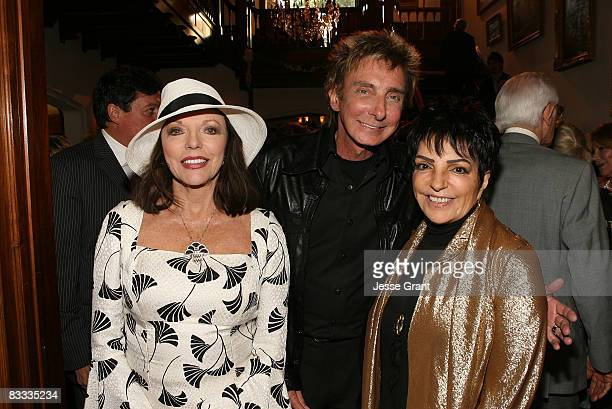 Joan Collins Barry Manilow and Liza Minnelli attend the wedding of Michael Feinstein and Terrence Flannery held at a private residence on October 17...
