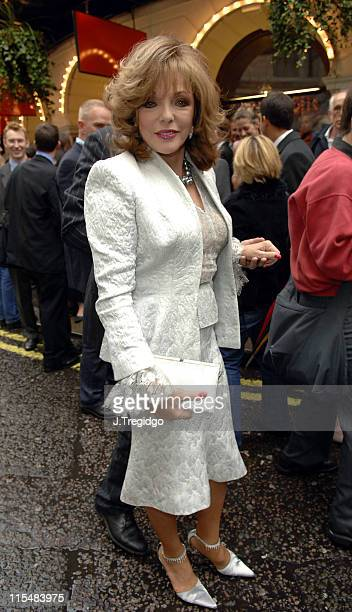 Joan Collins during Guys and Dolls West End London Play Press Night at Piccadilly Theatre in London Great Britain