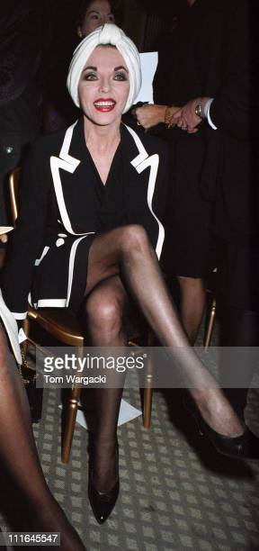 Joan Collins during Joan Collins and Shakira Caine at Hartnell Fashion Show January 24 1991 at Claridges in London Great Britain