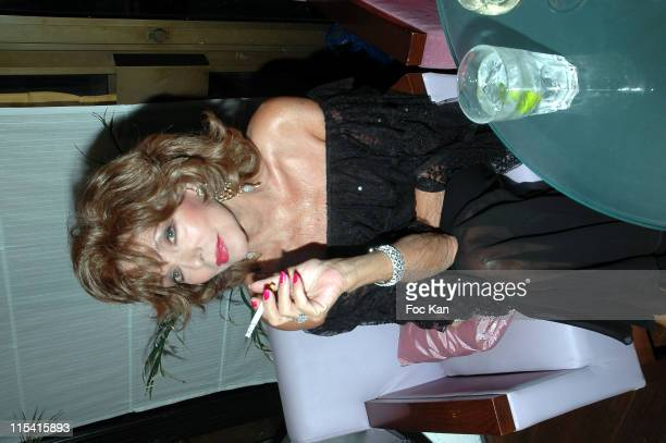 Joan Collins during Massimo Gargia Birthday Party at Papagayo Club in Saint Tropez France