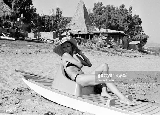 Joan Collins in the beach of the 'Marbella Club' Marbella Spain